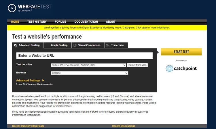WebpageTest - Free designer tools