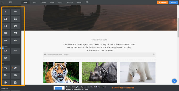 Weebly demo: To add content to your site, use the drag-and-drop builder on your left.