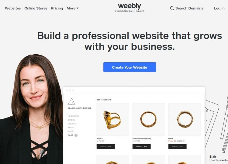 Screenshot of Weebly homepage