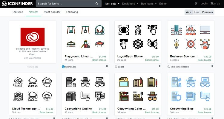 Icon Finder - ตลาดสำหรับนักออกแบบกราฟิก