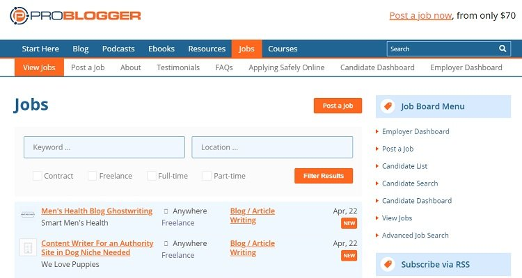 Example - Writer jobs available at Problogger Jobs.