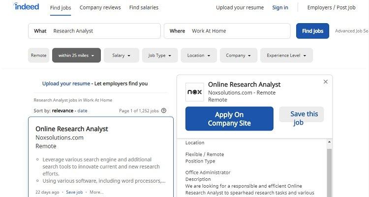 Esempio: offerte di lavoro per analista di ricerca disponibili presso Indeed
