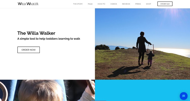 """Shopify Example #1 – Willawalker. This store uses """"Jumpstart"""", a theme that's ideal to showcase a small number of products."""