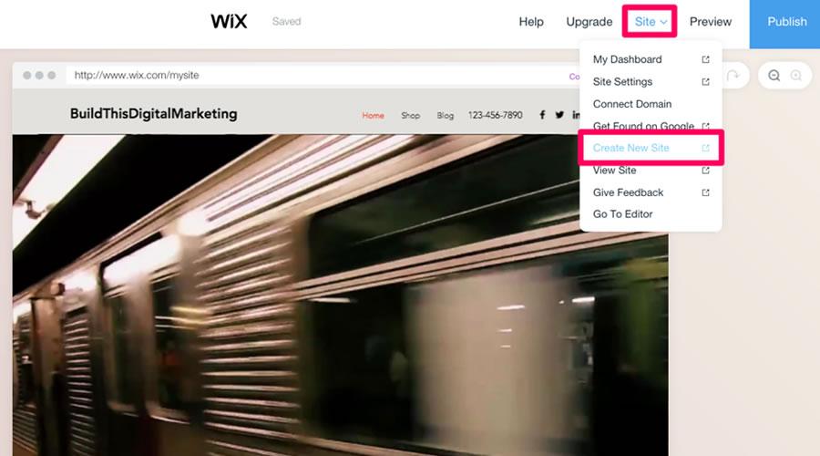 Setelah diklik, Wix akan menanyai Anda jenis situs yang ingin Anda buat.