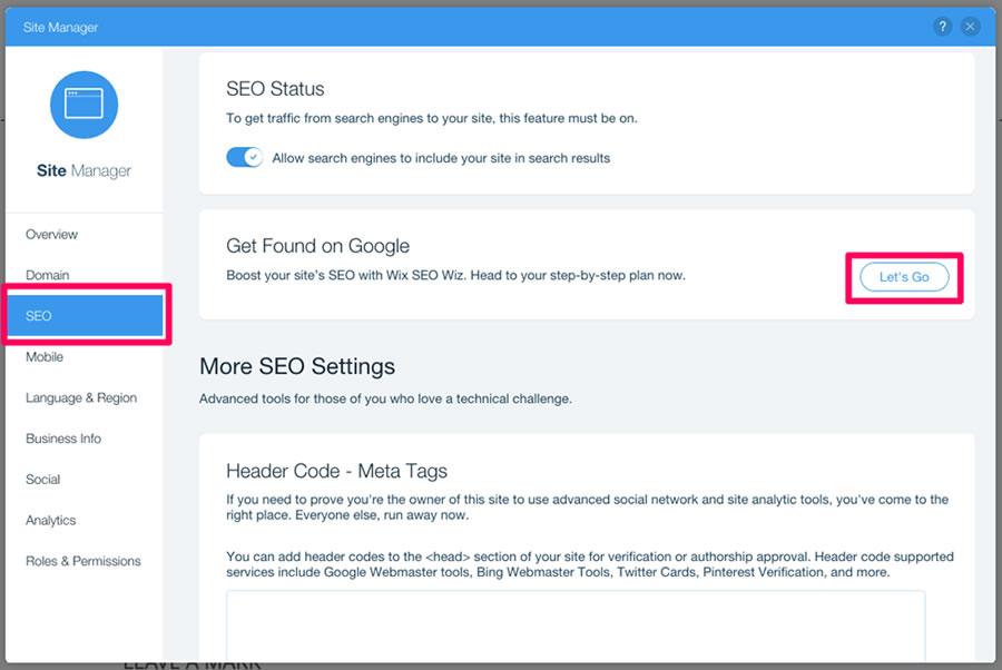 Untuk mulai menggunakan alat ini, klik tombol 'Let's Go' dari opsi panel SEO. Saat Anda mulai mengoptimalkan dengan alat SEO Wiz, alat itu akan menanyakan beberapa informasi bisnis terlebih dahulu. Setelah Anda memberikannya, Anda diminta untuk memasukkan sekitar 5 kata kunci yang Anda inginkan untuk mengoptimalkan situs web Anda. Cukup masukkan kata kunci Anda dan klik opsi 'Buat Rencana SEO'. Segera setelah Anda melakukannya, Anda akan diberikan daftar periksa dengan langkah-langkah untuk membuat mesin pencari situs Anda ramah.
