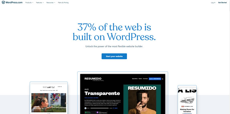 Homepage di WordPress.com