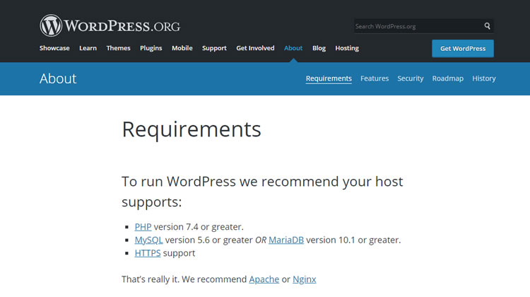 WordPress Hosting Requirements - as per WordPress.org