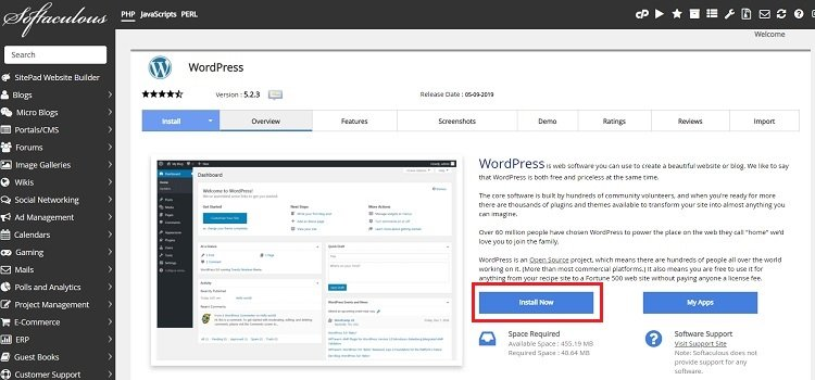 installa wordpress